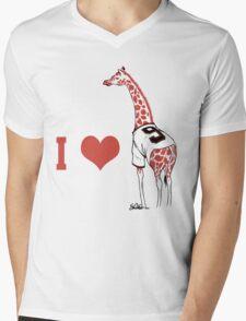 I ♥ Belt Giraffe Mens V-Neck T-Shirt