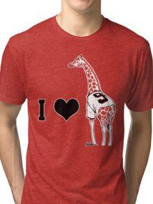 I ♥ Belt Giraffe (Version 2) Tri-blend T-Shirt