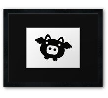 Flying Pig Black B&W Framed Print