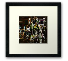 There's a story behind every glass drunk. Framed Print