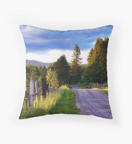 Farm Access Road Throw Pillow