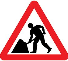Road Works Warning Triangle Road Sign by ukedward