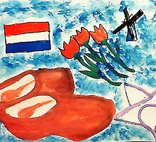 Dutch Theme, watercolor by Anna  Lewis, blind artist