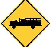 Firestation Yellow Diamond Warning Road Sign by ukedward
