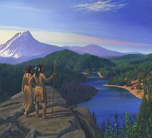 Native American Indian Maiden And Warrior Watching Bear Western Mountain Landscape by Walt Curlee