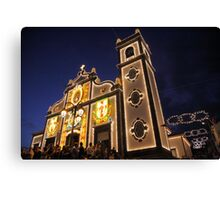 Church lighting at night Canvas Print