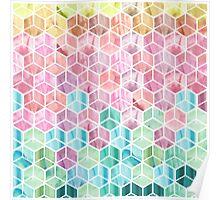 Watercolour cube pattern Poster