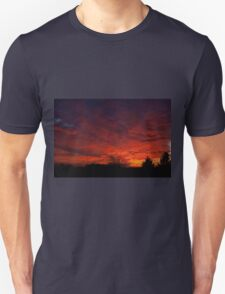 red sunset and trees silhouette in Warsaw  Unisex T-Shirt