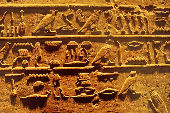 Egyptian hieroglyphs from Karnak temple in Luxor by Nasko .