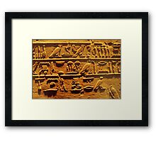 Egyptian hieroglyphs from Karnak temple in Luxor Framed Print