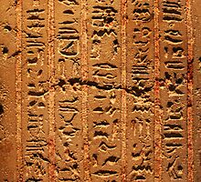 Egyptian hieroglyphs from Karnak temple in Luxor by Digital Editor .