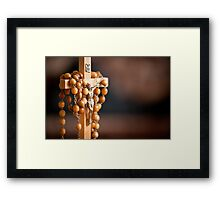 Jesus figurine and rosary  Framed Print