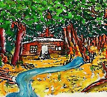 Cabin in the forest, watercolor by Anna  Lewis