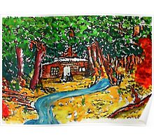 Cabin in the forest, watercolor Poster