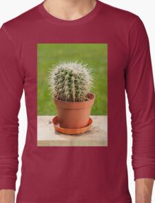 Cactus with big spines in flowerpot  Long Sleeve T-Shirt