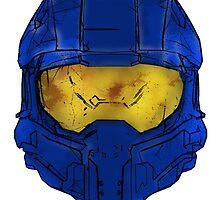 Blue Spartan Helmet by fuzzyscene