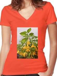 Brugmansia called Angels Trumpets or Datura  Women's Fitted V-Neck T-Shirt