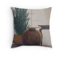 Clay Pots In The Window Throw Pillow