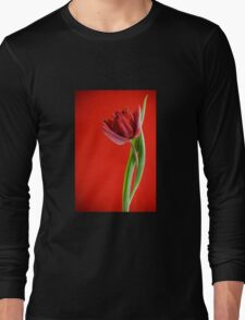 Gracile single red tulip and leaves on red  Long Sleeve T-Shirt