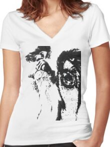 Puppy Dog Eyes Women's Fitted V-Neck T-Shirt