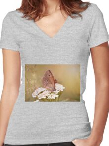 Ringlet brown butterfly  Women's Fitted V-Neck T-Shirt