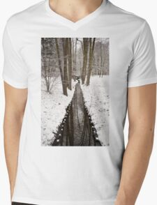 Stream in winter Baths Royal Park in Warsaw  Mens V-Neck T-Shirt