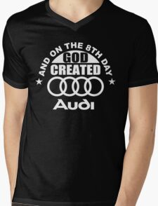 And On The 8th Day God Created Audi Fan Funny Joke Mens V-Neck T-Shirt