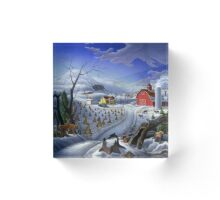 Rural Winter Country Farm Landscape with Deer Acrylic Block