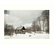 dilapidated wooden house cottage in winter  Art Print
