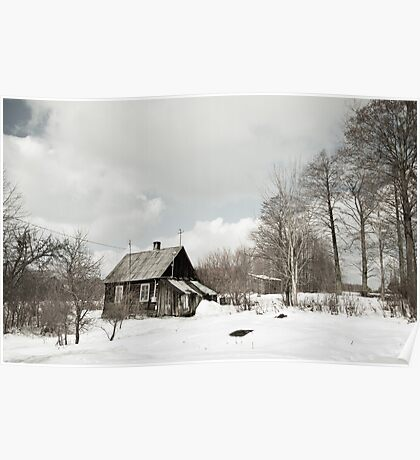 dilapidated wooden house cottage in winter  Poster