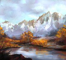 Mountains in fall by twhiteart