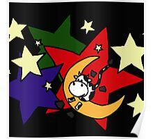Funny Abstract Art Cow Jumping Over the Moon Poster