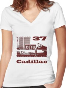 1937 Cadillac Women's Fitted V-Neck T-Shirt