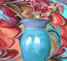 Zinnias in a Pottery Pitcher by suzannem73