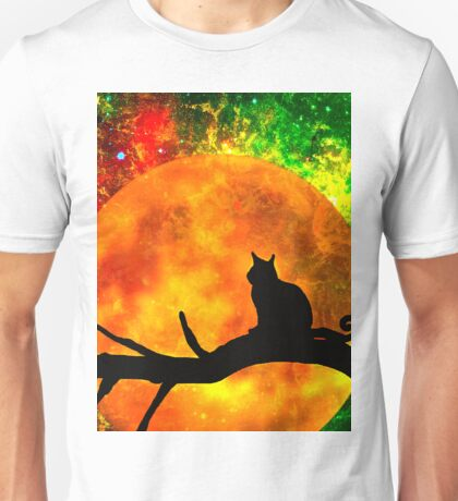 Black Cat Harvest Moon Unisex T-Shirt