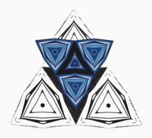 Abstract Triangle Blue Pattern One Piece - Short Sleeve