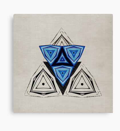 Abstract Triangle Blue Pattern Canvas Print