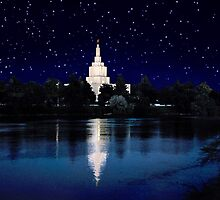 Starry Night Idaho Falls Temple 20x30 by Ken Fortie