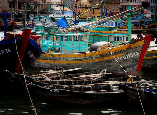 Vietnam fishing boats by Toni  Fuller