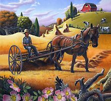 Raking Hay Field Rustic Country Farm Folk Art Landscape by Walt Curlee