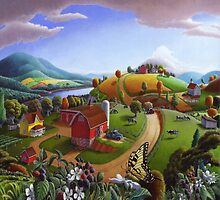 Blackberry Patch Rural Country Farm Landscape by Walt Curlee