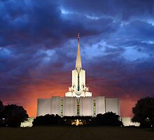 Jordan River Temple Stormy Sunset 20x30 by Ken Fortie