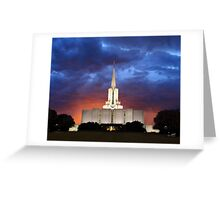 Jordan River Temple Stormy Sunset 20x24 Greeting Card