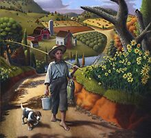 Boy and Dog Farm Landscape by Walt Curlee