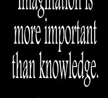 EINSTEIN, Imagination is more important than knowledge. Albert Einstein, White Type by TOM HILL - Designer