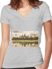 Angkor Wat Women's Fitted V-Neck T-Shirt
