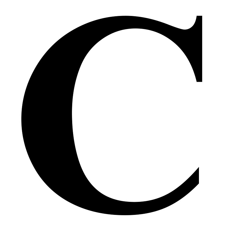 The Letter C In Black Times New Roman Serif Font Typeface