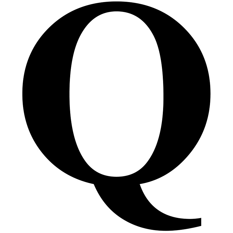 the letter q in black times new roman serif font typeface