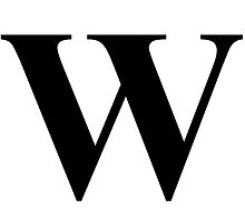 The Letter W in Black Times New Roman Serif Font Typeface by ukedward