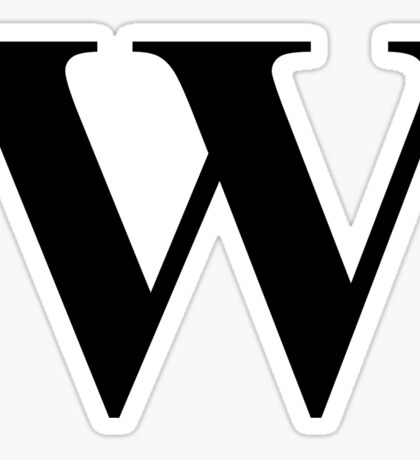 The Letter W in Black Times New Roman Serif Font Typeface Sticker